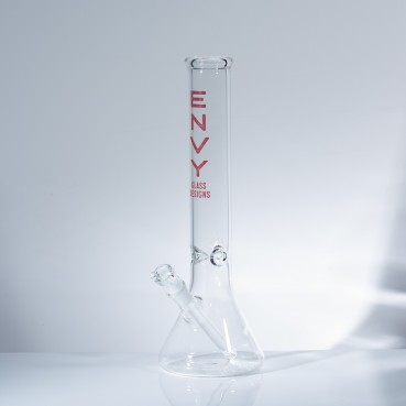 "Envy Glass 5mm Clear Beaker 15"" w/Ice Pinches - Red"