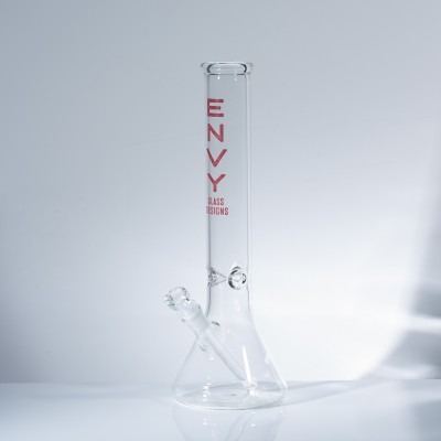 """Envy Glass 5mm Clear Beaker 15"""" w/Ice Pinches - Red"""
