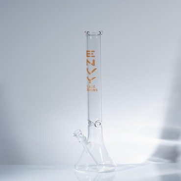 "Envy Glass 5mm Clear Beaker 18"" w/Ice Pinches - Orange"